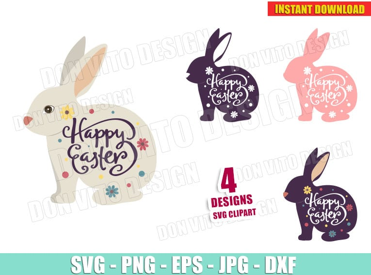 Happy Easter Bunny Bundle Svg Dxf Png Spring Holiday Rabbit Cut Files