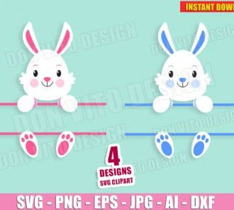 Easter Bunny Split Monogram (SVG dxf png) Cut Files Image Vector Clipart - Don Vito Design Store