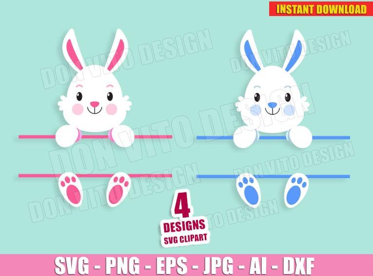 Easter Bunny Split Monogram Svg Dxf Png Spring Holiday Rabbit Cut