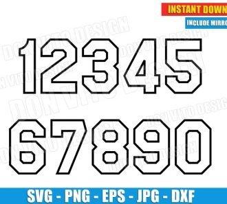 Jersey Uniform Number Outline Set (SVG dxf png) Cut Files Image Vector Clipart - Don Vito Design Store