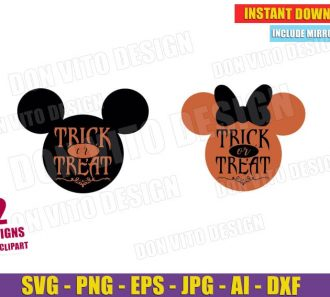 Trick or Treat Mickey & Minnie Mouse Head (SVG dxf png) Cut Files Image Vector Clipart - Don Vito Design Store