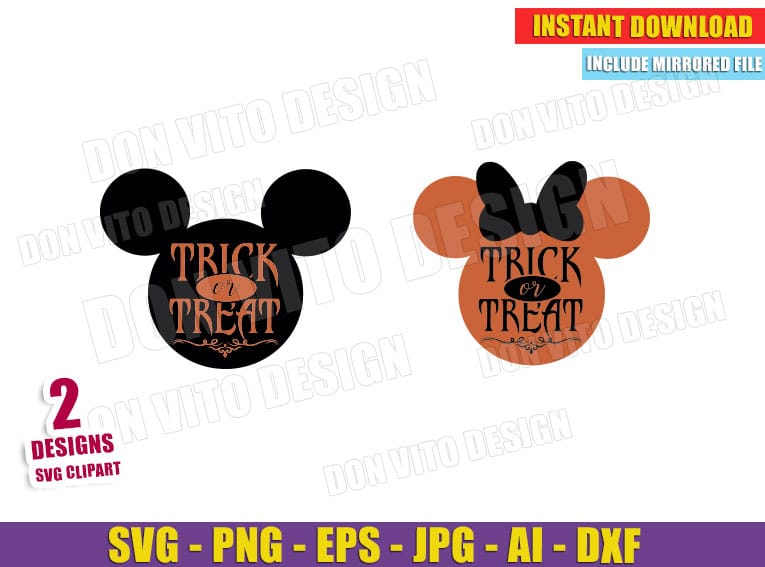 Trick Or Treat Mickey Minnie Mouse Head Svg Dxf Png Disney Cut File