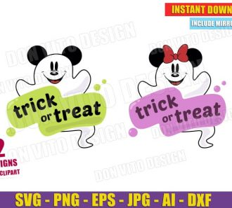 Mickey & Minnie Mouse Ghost Trick or Treat (SVG png) Cut Files Image Vector Clipart - Don Vito Design Store