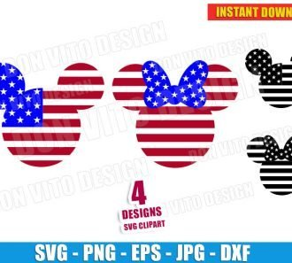 4th July SVG Cut File Mickey Head USA Flag - Disney PNG Clipart Design Cricut Silhouette - DonVitoDesign Store Free Download