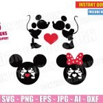 Mickey & Minnie Mouse Kissing (SVG dxf png) Disney Ears Love Heart Valentine Kiss Cut File Silhouette Cricut Vector Clipart T-Shirt Design Boy Girl