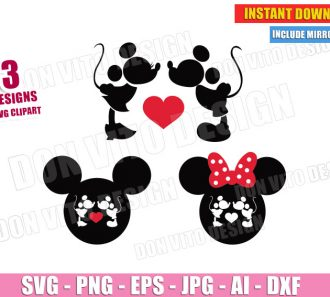 Mickey & Minnie Mouse Kissing (SVG dxf png) Cut Files Image Vector Clipart - Don Vito Design Store