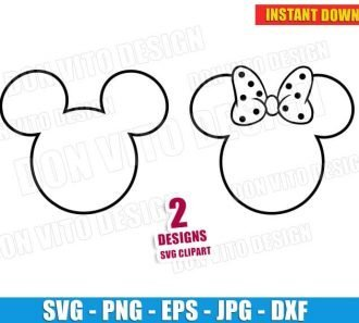 Mickey & Minnie Mouse Outline Head (SVG dxf png) Disney Movie Ears Bow Cut Files Vector Clipart