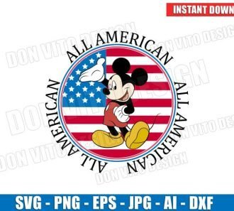 Mickey Mouse 4th of July All American Flag (SVG dxf png) Cut Files Image Vector Clipart - Don Vito Design Store