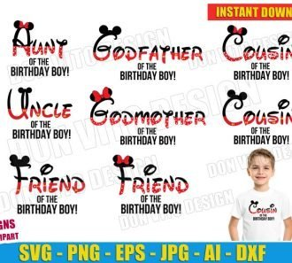 Mickey Mouse Birthday Party Boy Family (SVG dxf png) Cut Files Image Vector Clipart - Don Vito Design Store