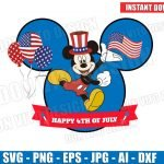 Mickey Mouse USA Flag Happy 4th of July (SVG dxf png) Disney American Holiday Head Ears Hat Balloon Fireworks Vector Clipart T-Shirt Design Kids
