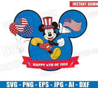 Mickey Mouse USA Flag Happy 4th of July (SVG dxf png) Cut Files Image Vector Clipart - Don Vito Design Store