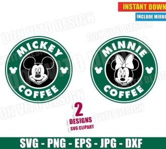 Mickey & Minnie Mouse Starbucks Logo (SVG DXF PNG) Cut Files Image Vector Clipart - Don Vito Design Store