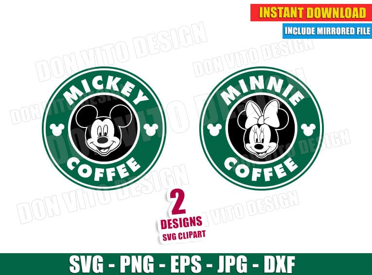 Mickey Minnie Mouse Starbucks Logo Svg Dxf Png Disney Cut Files