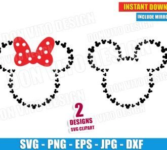 Mickey and Minnie Mouse Head (SVG dxf png) Disney Movie Ears Bow Vector Clipart Cut Files