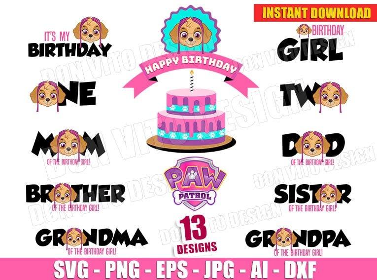 Paw Patrol Skye Birthday Party Bundle Svg Dxf Png Logo Pink Cut File