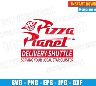 Pizza Planet Delivery Shuttle Toy Story Logo (SVG dxf png) Cut Files Image Vector Clipart - Don Vito Design Store