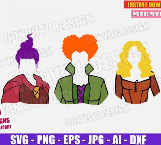 Sanderson Sisters Mary Sarah Winifred (SVG dxf png) Cut Files Image Vector Clipart - Don Vito Design Store