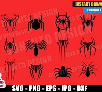 Spider-Verse Logos Bundle Spiderman (SVG dxf png) Marvel Movie Miles Morales Venom Vector Clipart Cut Files