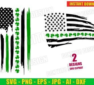 St Patrick's Day Distressed USA Flag Shamrocks Irish (SVG dxf png) Cut Files Image Vector Clipart - Don Vito Design Store