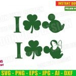 St Patrick's Day I love Mickey & Minnie Mouse with Irish Shamrock (SVG dxf png) Disney Lucky Clover Silhouette Cut File Cricut Vector Clipart T-Shirt Design Kids