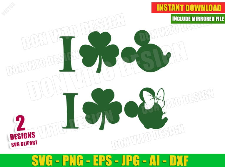 St Patrick's Day I love Mickey & Minnie Mouse with Irish Shamrock (SVG dxf png) Cut Files Image Vector Clipart - Don Vito Design Store