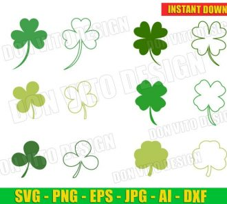 St Patrick's Day Irish Shamrock Clover Bundle (SVG dxf png) Cut Files Image Vector Clipart - Don Vito Design Store