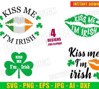 St Patrick's Day Kiss me I'm Irish Lips Clover Bundle (SVG dxf png) Cut Files Image Vector Clipart - Don Vito Design Store