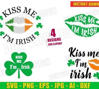 St Patrick's Day Kiss me I'm Irish Lips Clover Bundle (SVG dxf png) Cut Files Image Vector Clipart - Don Vito Design Store
