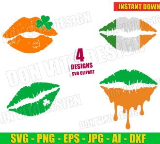 St Patrick's Day Lips Distressed Kiss with clover (SVG dxf png) Cut Files Image Vector Clipart - Don Vito Design Store
