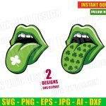 St Patrick's Day Lips with Tongue Out Shamrock (SVG dxf png) Irish Lucky Clover Silhouette Cut File Cricut Vector Clipart T-Shirt Design Kids