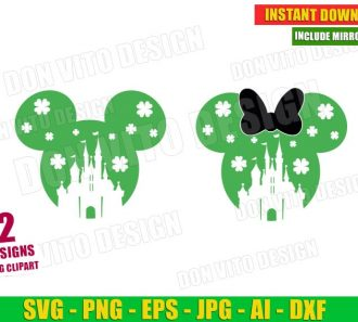St Patrick's Day Disney Castle Mickey Head (SVG dxf png) Cut Files Image Vector Clipart - Don Vito Design Store