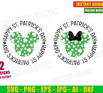 Happy St Patrick's Day Mickey Head Disney Clover (SVG dxf png) Cut Files Image Vector Clipart - Don Vito Design Store