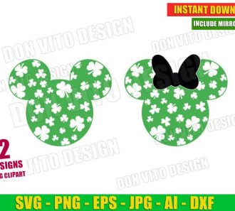 St Patrick's Day Disney Clover Mickey Head (SVG dxf png) Cut Files Image Vector Clipart - Don Vito Design Store