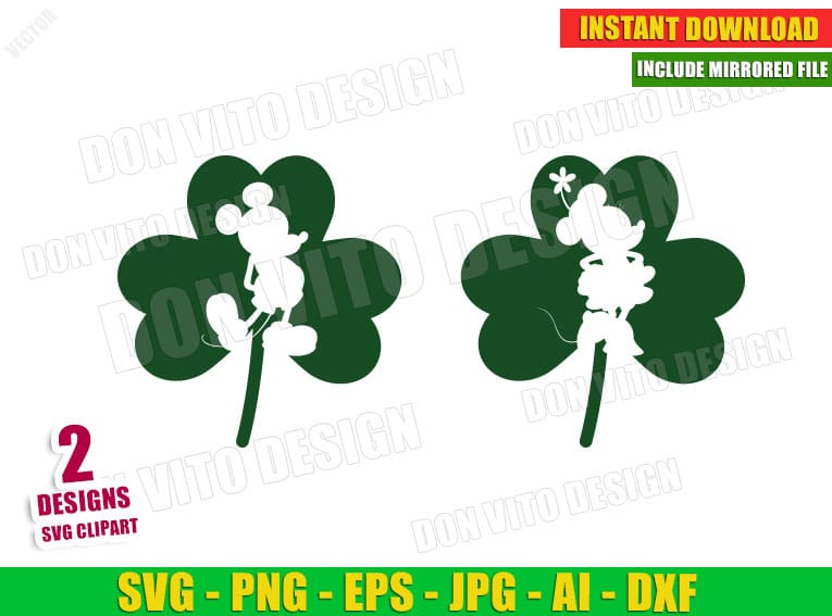Disney St Patrick's Day Mickey Mouse Irish Shamrock (SVG dxf png) Cut Files Image Vector Clipart - Don Vito Design Store