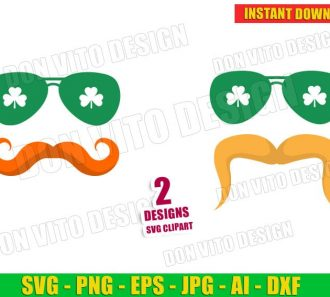 St Patrick's Day Mustache Irish Face Sunglasses (SVG dxf png) Cut Files Image Vector Clipart - Don Vito Design Store