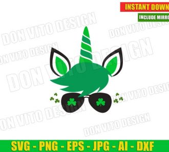 St Patrick's Day Unicorn Face Irish Sunglasses Clover Cut Files Image Vector Clipart - Don Vito Design Store