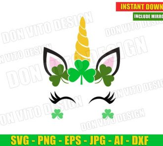 St Patrick's Day Unicorn Face Lucky Irish Clover (SVG dxf png) Cut Files Image Vector Clipart - Don Vito Design Store