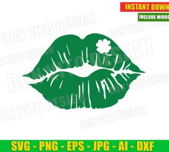 Lips with clover St Patrick's Day (SVG dxf png) Cut Files Image Vector Clipart - Don Vito Design Store