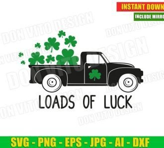 Loads of Luck St Patrick's Day Old Truck Car (SVG dxf png) Cut Files Image Vector Clipart - Don Vito Design Store