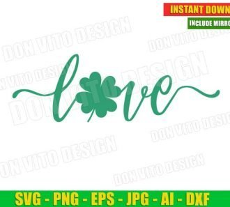Love Shamrock St Patrick's Day Clover (SVG dxf png) Cut Files Image Vector Clipart - Don Vito Design Store