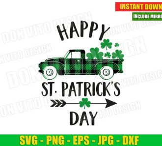 Happy St. Patrick's Day Old Truck Buffalo Plaid (SVG dxf png) Cut Files Image Vector Clipart - Don Vito Design Store