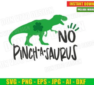 No Pinch a Saurus St Patrick's Day (SVG dxf png) Cut Files Image Vector Clipart - Don Vito Design Store