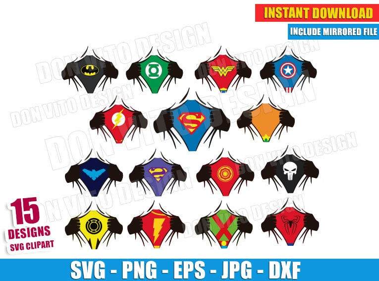 Superhero Ripping Shirt Bundle Svg Hand Reveal Logo Superman Batman