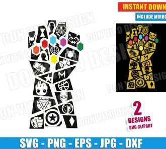 Thanos Gauntlet with Marvel Logos (SVG dxf png) Cut Files Image Vector Clipart - Don Vito Design Store