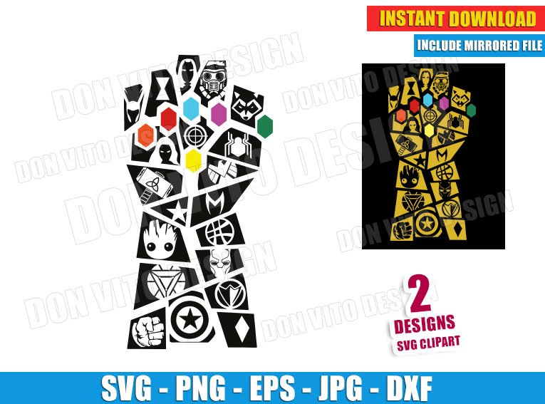 thanos gauntlet with marvel logos svg dxf png avengers endgame marvel logos svg dxf png avengers endgame