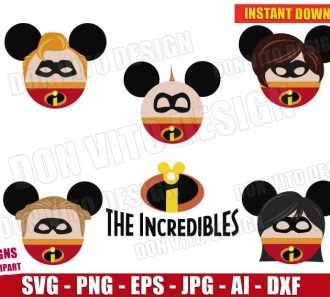 The Incredibles Family Mickey Mouse Ears Bundle (SVG dxf png) Cut Files Image Vector Clipart - Don Vito Design Store