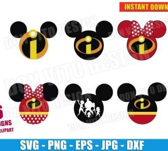 The Incredibles Mickey Mouse Bundle (SVG dxf png) Cut Files Image Vector Clipart - Don Vito Design Store
