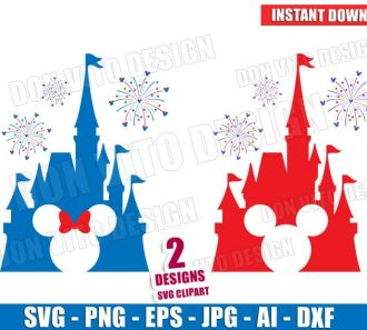 USA Disney Castle 4th of July Fireworks (SVG dxf png) Cut Files Image Vector Clipart - Don Vito Design Store