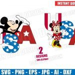 USA Mickey & Minnie Mouse 4th of July (SVG dxf png) Disney Holiday American Flag Patriotic Logo Vector Clipart T-Shirt Design Baby Boy Girl DIY