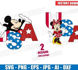 USA Mickey & Minnie Mouse 4th of July (SVG dxf png) Cut Files Image Vector Clipart - Don Vito Design Store